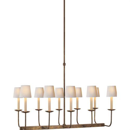 light brass linear branched chandelier