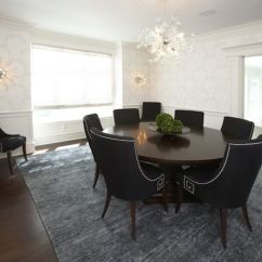 Round Dining Table For 6 Chairs Revolving Chair Without Arms Price Room Wainscoting Design Ideas