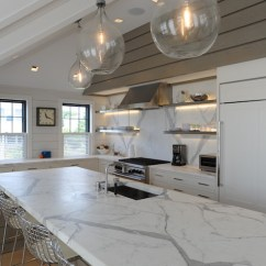 Kitchen Bay Window Treatments Cabnets Calacatta Gold Marble Countertops - Transitional ...