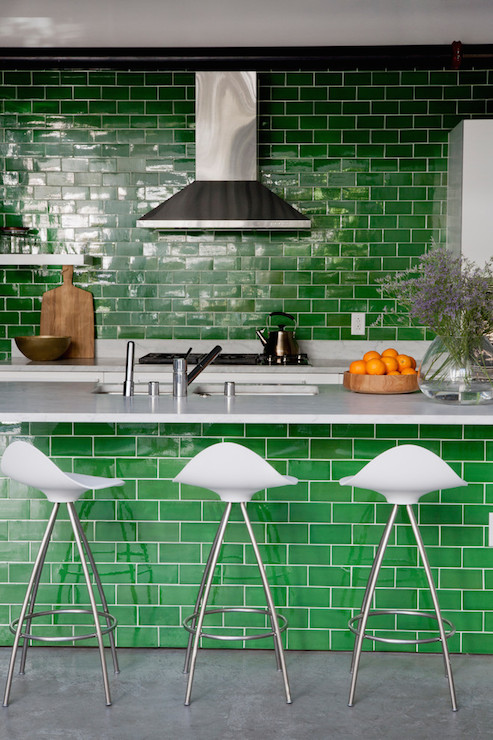 Green Subway Tiles  Contemporary Kitchen  Disc Interiors