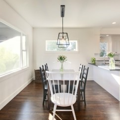 White Farmhouse Kitchen Table And Chairs Bertoia Style Chair Ladder Back Dining - Transitional Room