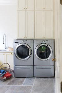 Shelving over Washer and Dryer - Cottage - Laundry Room