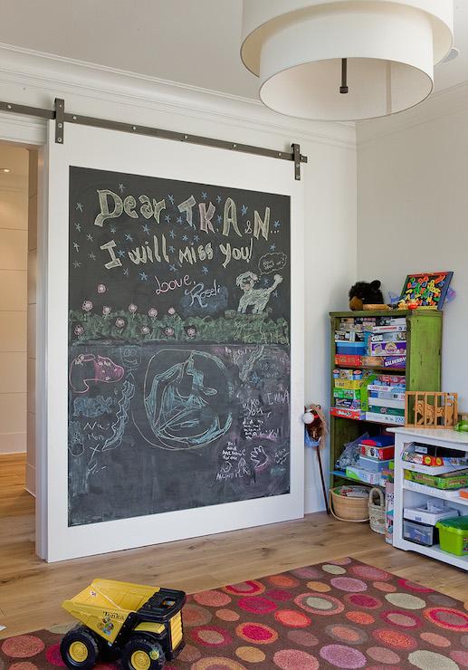 Chalkboard Barn Door Transitional Boys Room Brookes