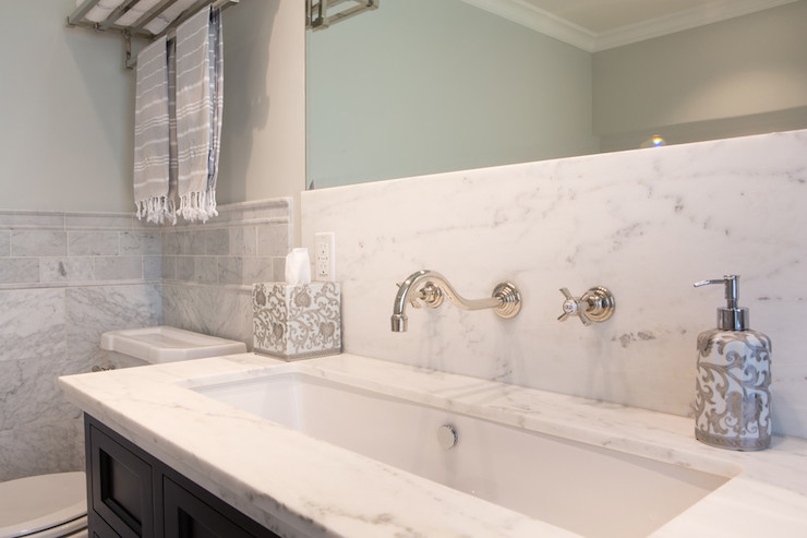 Lacava Sink Transitional Bathroom Benjamin Moore Moonshine Charmean Neithart Interiors