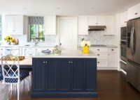 Navy Blue Kitchen Cabinets - Eclectic - kitchen - Farrow ...