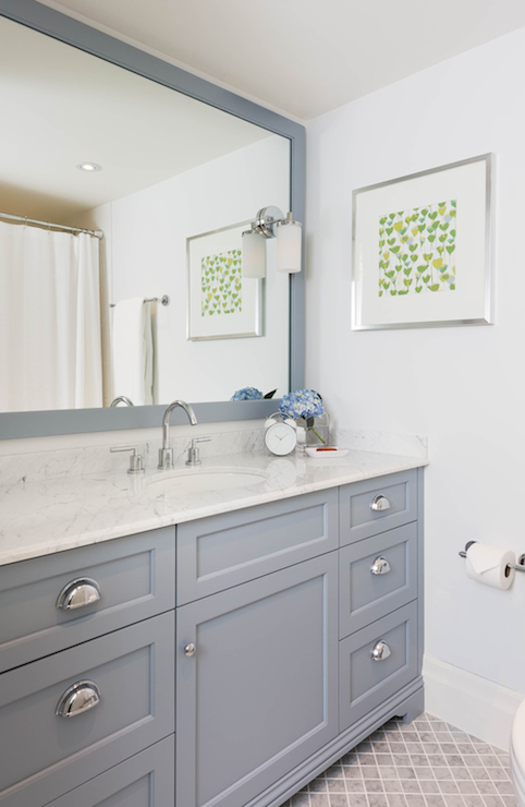Gray Vanity with Marble Countertop  Transitional