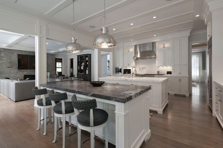White Kitchen Island With Black Marble Countertop Transitional Kitchen Blue Water Home