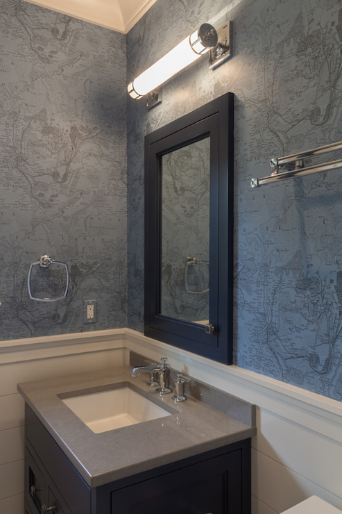 Navy Medicine Cabinet  Transitional  Bathroom  Blue