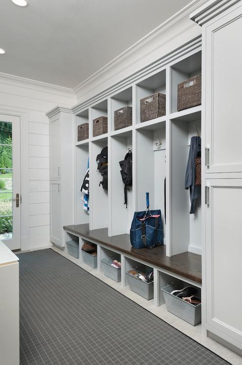 Open Mudroom Lockers Transitional Laundry Room Blue