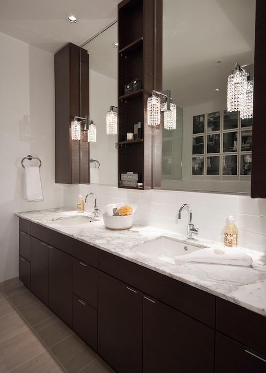 Espresso Vanity With White Marble Tops Design Ideas