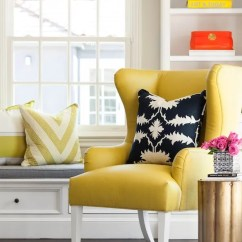 Gray And Yellow Accent Chair Fisher Price Table Chairs Blue Wingback - Contemporary Living Room Martha O'hara Interiors