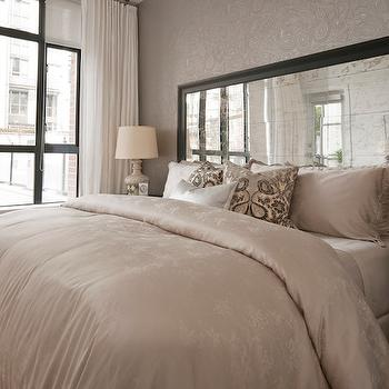 White and Silver Wallpaper  Contemporary  bedroom  Vogue
