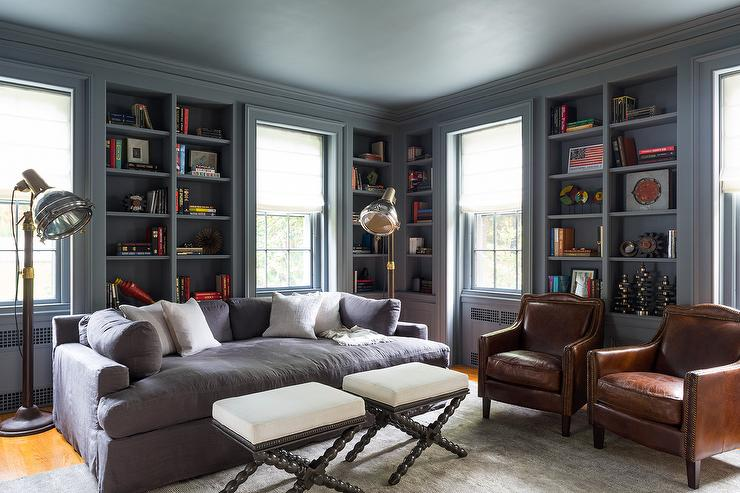 dark brown sofa with blue pillows how to stop cats scratching uk gray paneled den - eclectic den/library/office chango ...