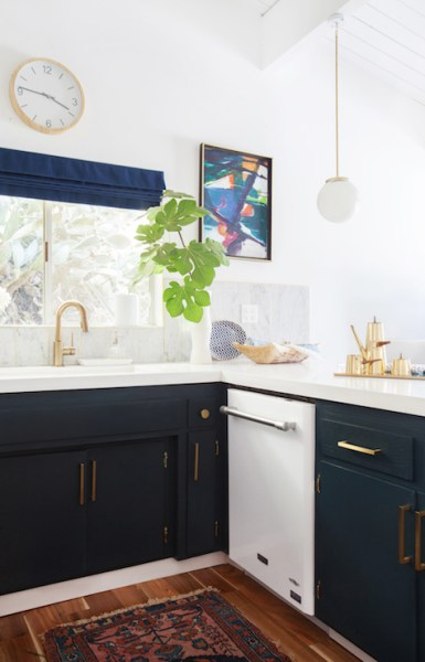 navy blue painted kitchen cabinets Navy Kitchen Cabinets - Eclectic - kitchen - Farrow and Ball Hague Blue - Emily Henderson
