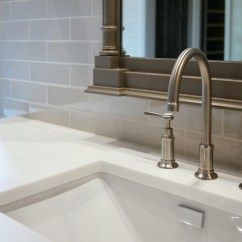 White Porcelain Undermount Kitchen Sink Paint Color For Imperial Thassos Tile - Transitional Bathroom Fiorella ...