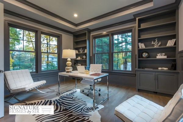 painted home office built ins Gray Built In Bookcase - Transitional - Den/library/office - Sir Development