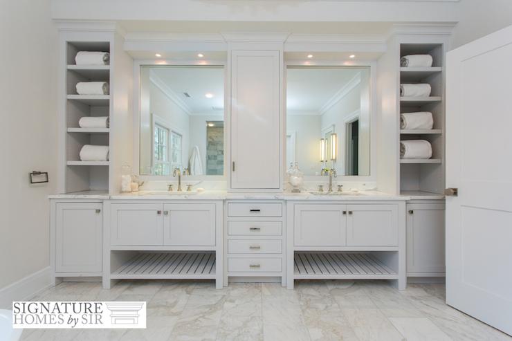built in bathroom vanity with shelf - transitional - bathroom