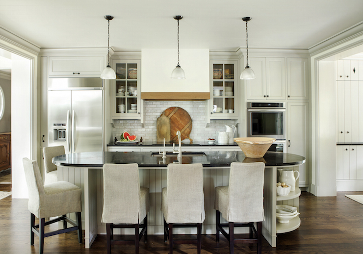 Oval Kitchen Island Transitional Kitchen Westbrook Interiors
