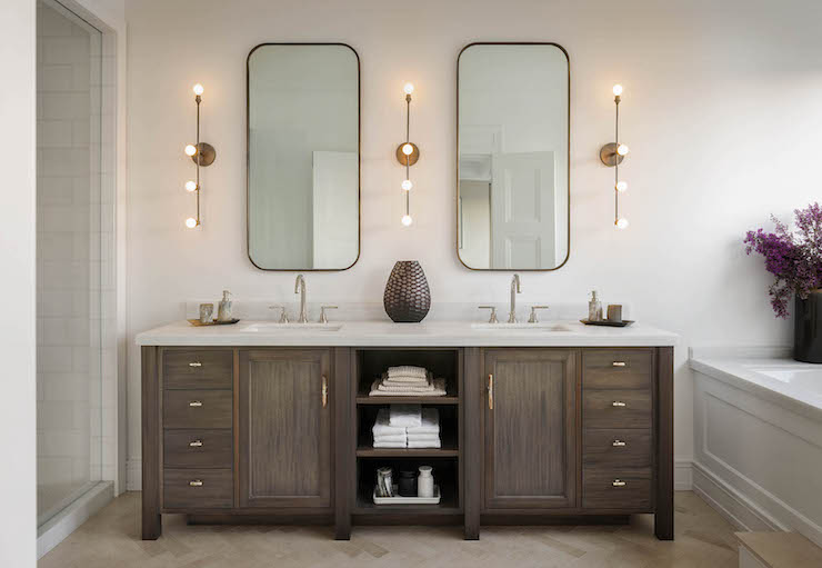 Double Vanity with Center Shelves  Transitional