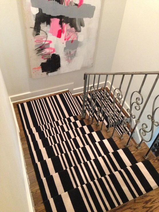 Black And White Stripe Stair Runner Contemporary Entrance   Black And White Stairs Design   Farmhouse   Photography   Concept   Disappearing   Grey Background