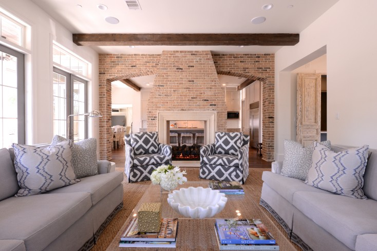 living room with sofa and two accent chairs interior design table sided fireplace - transitional munger ...