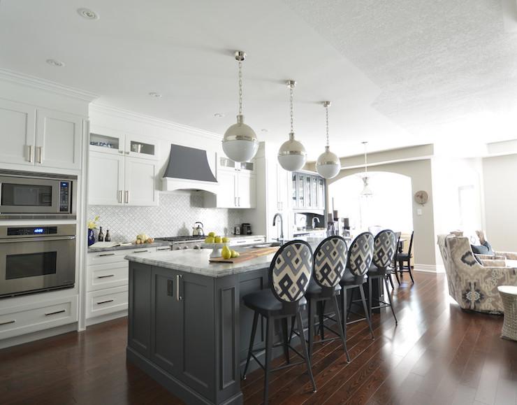White Kitchen with Gray Island  Transitional  Kitchen