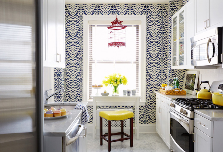 kitchen accent table island countertop navy zebra wallpaper contemporary ashley whittaker design