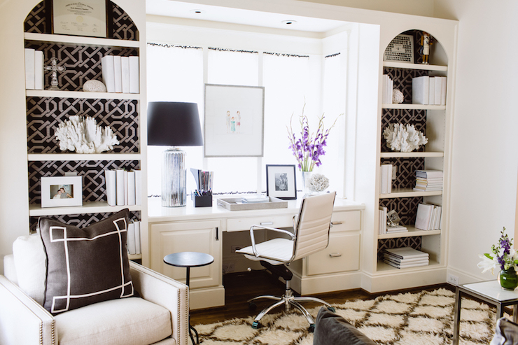 Wallpaper on Back of Bookcase  Transitional  Denlibraryoffice  Dana Wolter Interiors