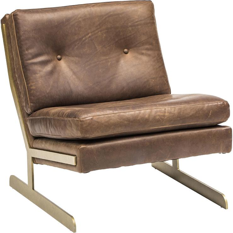 Lance Brown Leather Chairs Bernhardt