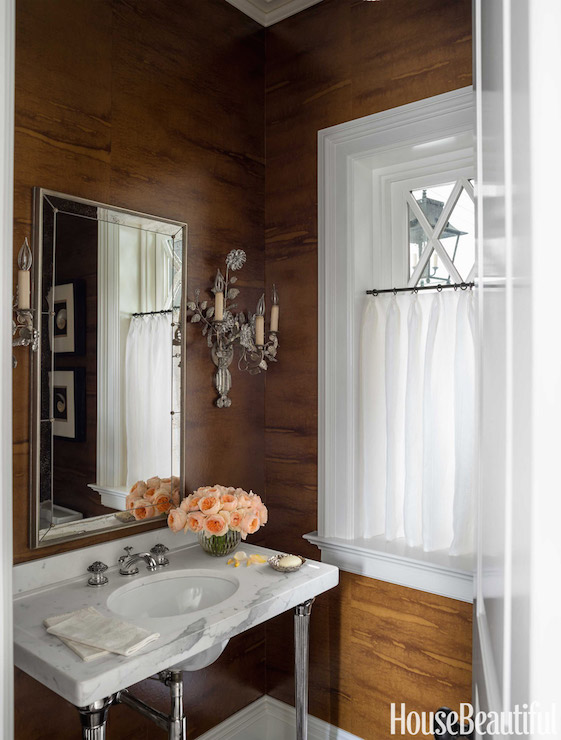 Fake Wood Wallpaper Country Bathroom House Beautiful