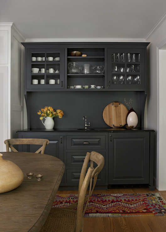 Black Wet Bar Ideas  Country  Dining Room  Cloth and Kind