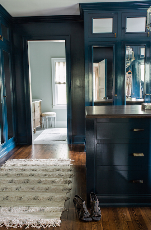 Peacock Blue Cabinets  Transitional  Closet  Farrow and