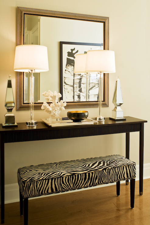 Zebra Ottoman  Transitional  entrancefoyer  Elle Decor