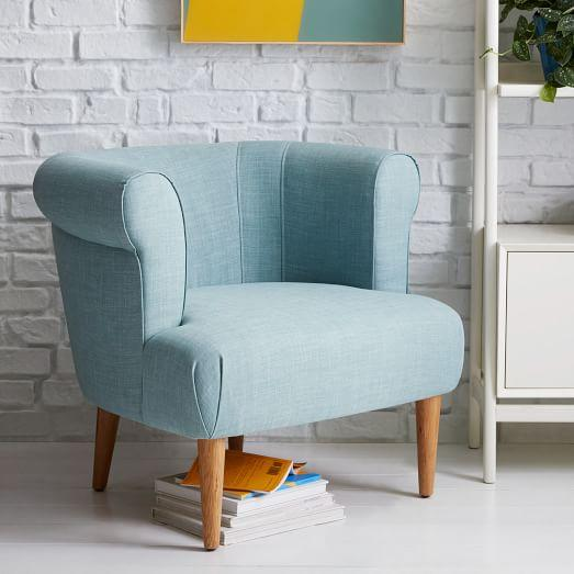 navy blue leather club chair desk set rhys chair, caribbean - anthropologie.com