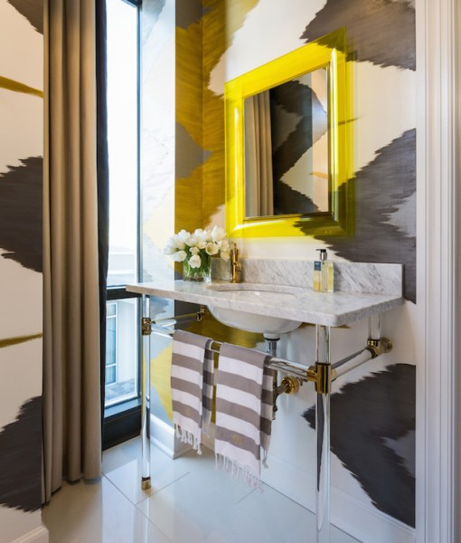 yellow and grey bathroom mirror Yellow and Gray Bathrooms - Contemporary - Bathroom - Tobi Fairley