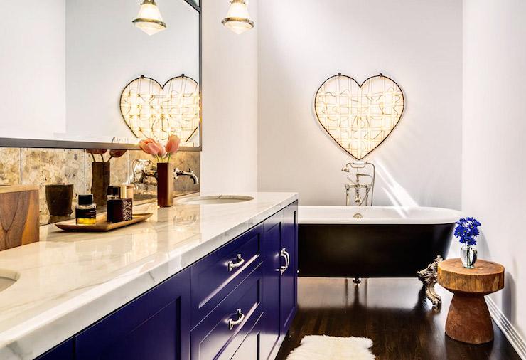 Blue Bathroom Vanity  Contemporary  Bathroom  SVZ Interior Design