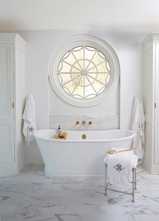 Bathtub with Gold Tub Filler  Transitional  Bathroom  Benjamin Moore Vanilla Milkshake
