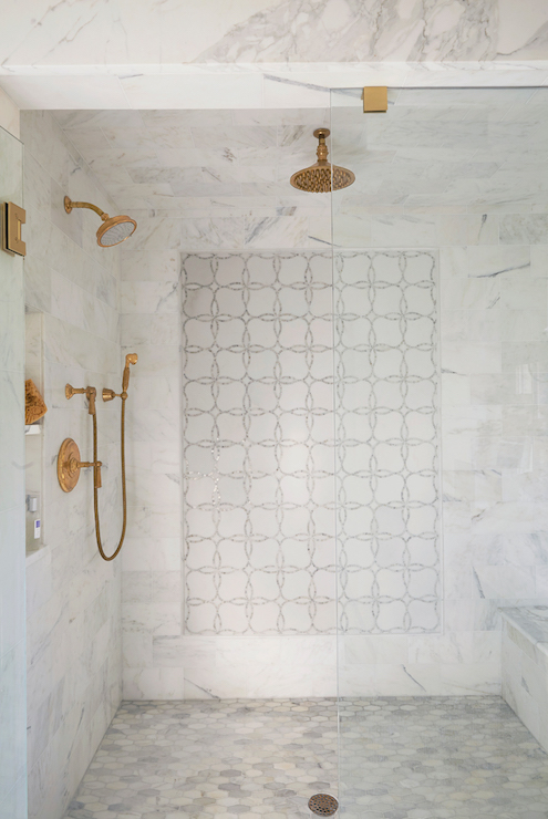 Shower with Gold Fixtures  Transitional  Bathroom