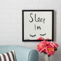 Kate Spade Black Sleep In Saturday Mirrored Wall Art