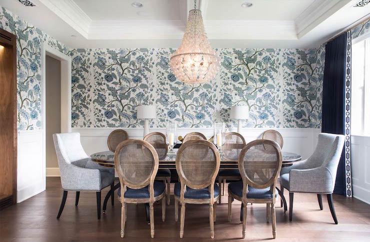 oval back dining room chairs justaucorps gym couleur chair navy walls design ideas beautiful features an oly studio ariel chandelier illuminating table lined with cane dark blue