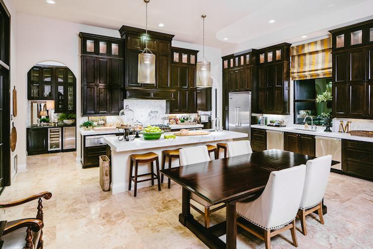 Dark Distressed Kitchen Cabinets  Mediterranean  Kitchen