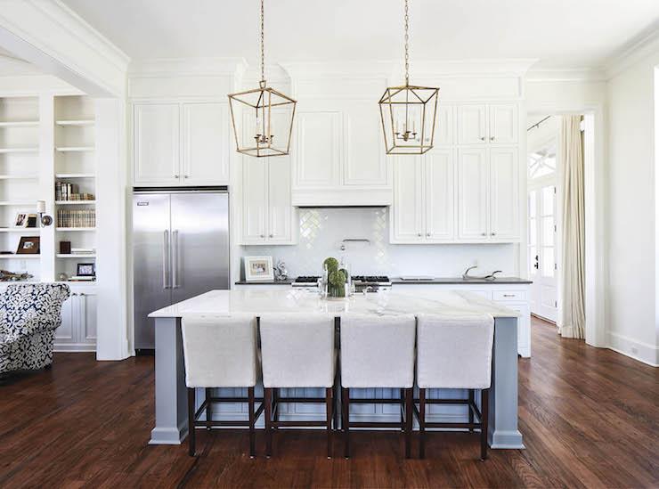 kitchen lanterns granite island brass transitional telich custom homes