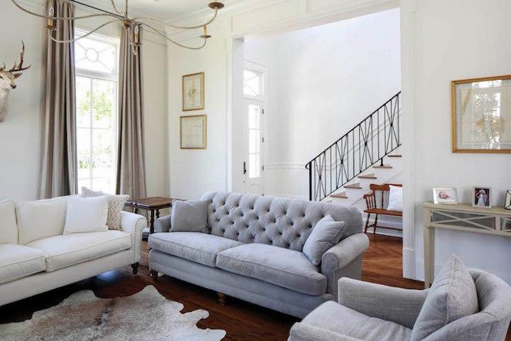 Gray Velvet Tufted Sofa