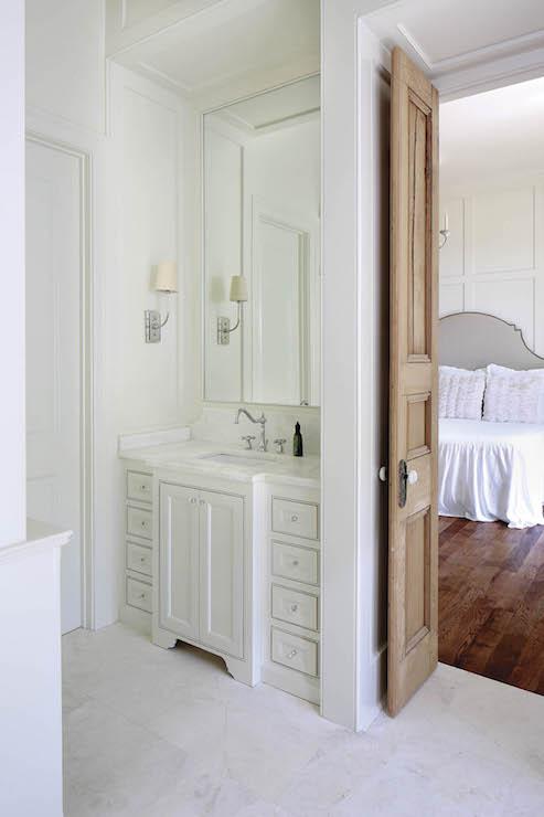 Bathroom with Bi Fold Doors  French Bathroom  Telich Custom Homes