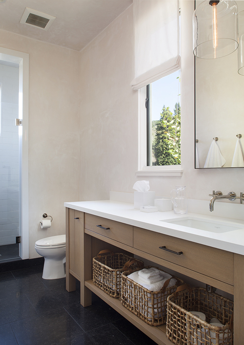 Brown Laminate Floating Vanity  Contemporary  Bathroom