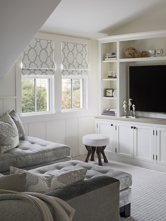 window treatment ideas small living room pictures of unique rooms gray velvet tufted chaise lounge - transitional ...