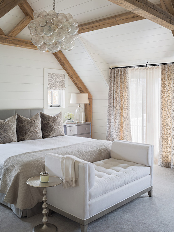 Bedroom With Rustic Wood Beams Transitional Bedroom