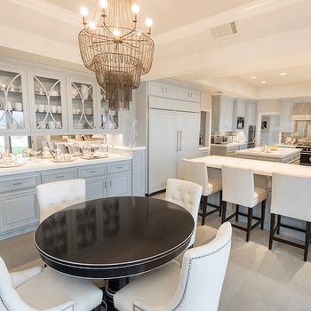 kitchen island with shelves rustic valances built in hutch mirrored backsplash design ideas