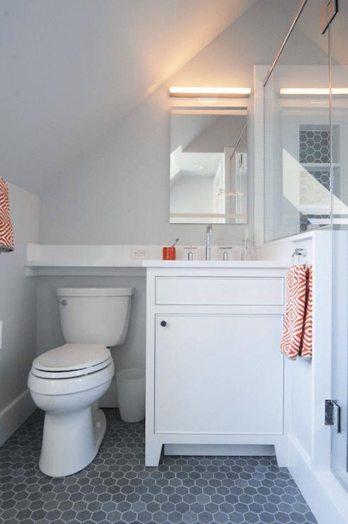 Gray and Orange Bathrooms  Contemporary  Bathroom