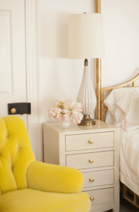 Bedrooms Yellow Tufted Back Wing Chair Design Ideas
